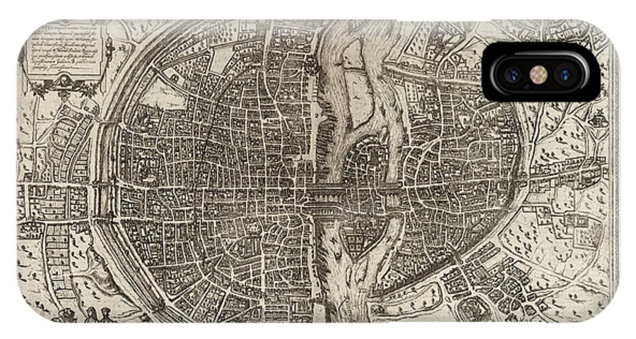 Old Paris Map By Georg Braun And Franz Hogenberg 1575 Iphone X