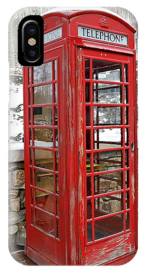 Communication IPhone X Case featuring the photograph Old Phone Booth by Marilyn Hunt