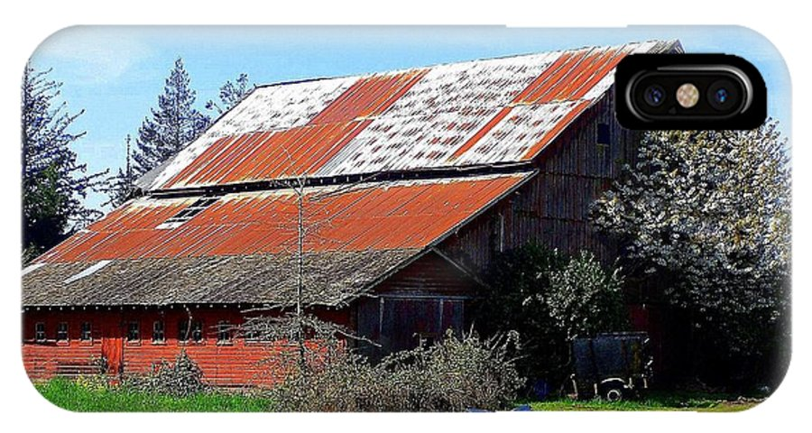 Barn IPhone X Case featuring the photograph Old Red Photograph by Kimberly Walker
