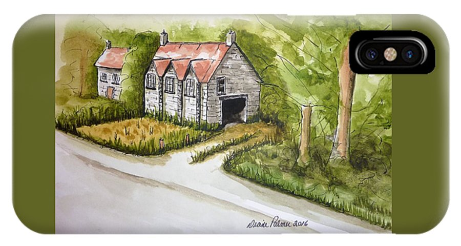 Trees IPhone X Case featuring the painting Old Scottish Stone Barn by Diane Palmer