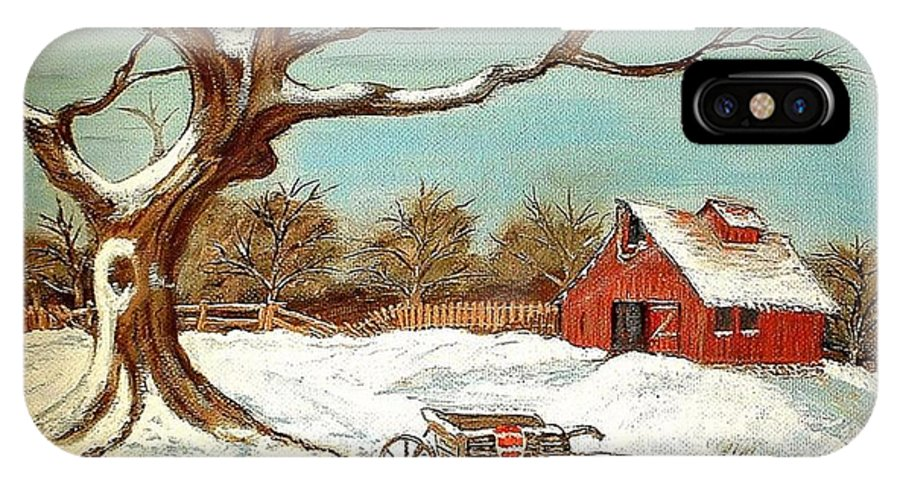 Old Tree Barn Wheelbarrow Snow Winter Painting IPhone X Case featuring the painting Old Tree And Barn by Kenneth LePoidevin