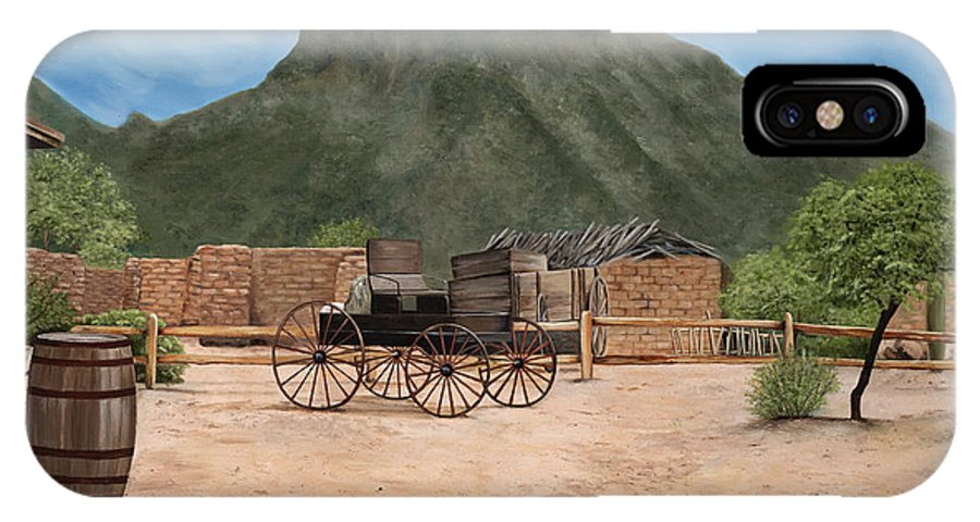 Art IPhone X Case featuring the painting Old Tucson by Mary Rogers