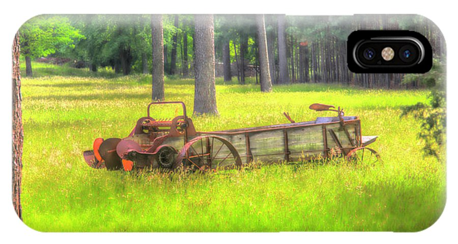 Landscape IPhone X / XS Case featuring the photograph Old Wagon In Field by Doug Berry