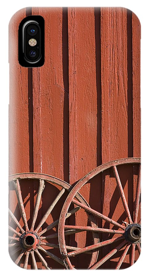 Wheel Wheels Wagon Old Red Barn Antique Past History Rural Country IPhone X Case featuring the photograph Old Wagon Wheels IIi by Andrei Shliakhau