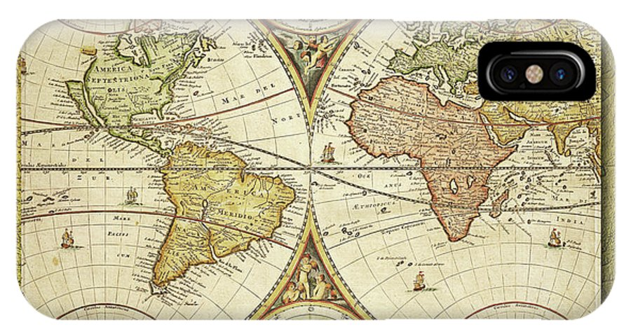 World IPhone X Case featuring the digital art Old World Map On Gold by Ericamaxine Price