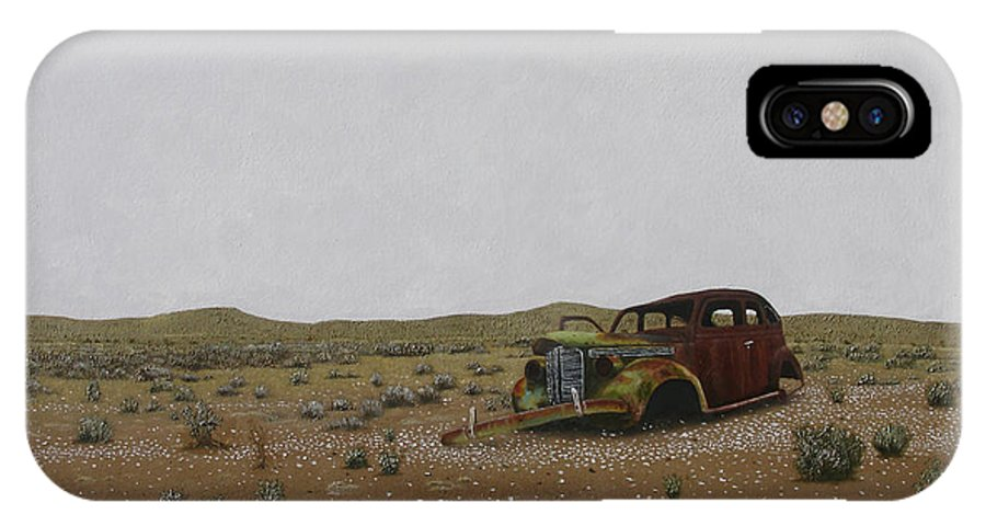 Old Classic Car Wreck In The Desert. IPhone X / XS Case featuring the painting Old Wreck by Roy Keeler