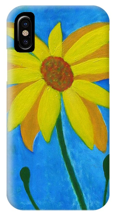 Sunflower IPhone X Case featuring the painting Old Yellow by John Scates