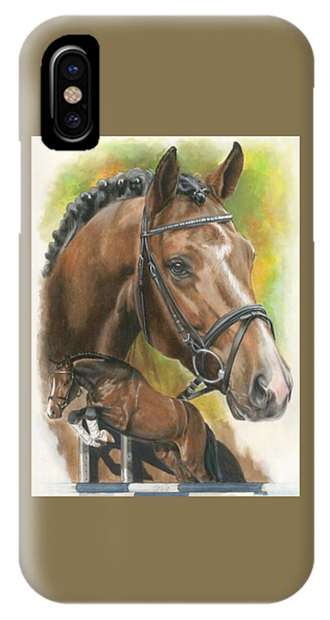 Hunter Jumper IPhone X Case featuring the mixed media Oldenberg by Barbara Keith
