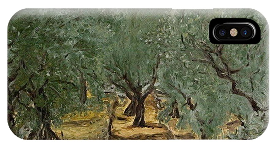 Landscape IPhone X Case featuring the painting Olive by Pablo de Choros