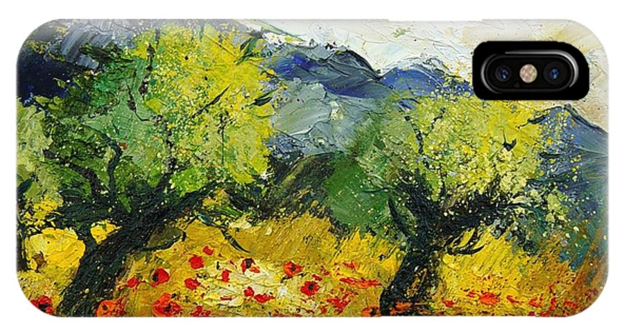 Flowers IPhone X Case featuring the painting Olive Trees And Poppies by Pol Ledent