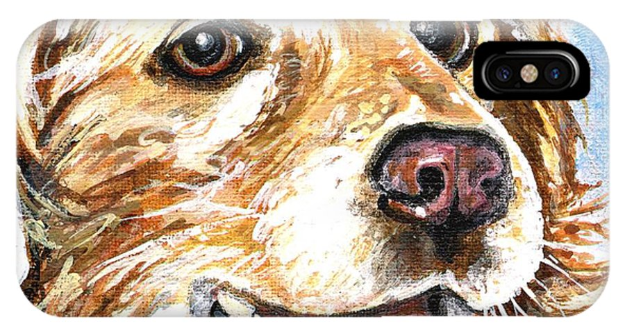 Charity IPhone Case featuring the painting Oliver From Muttville by Mary-Lee Sanders