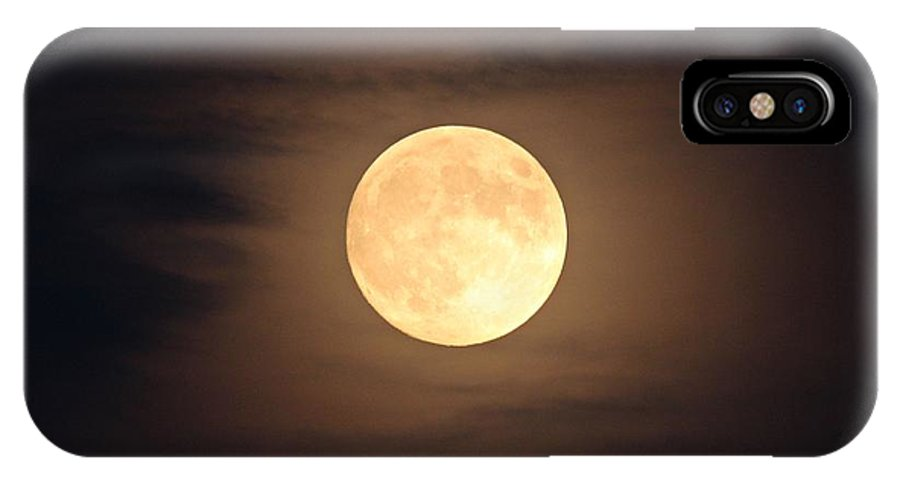 Moon IPhone X Case featuring the photograph Omaha Moon Through The Clouds by Kevin Cox