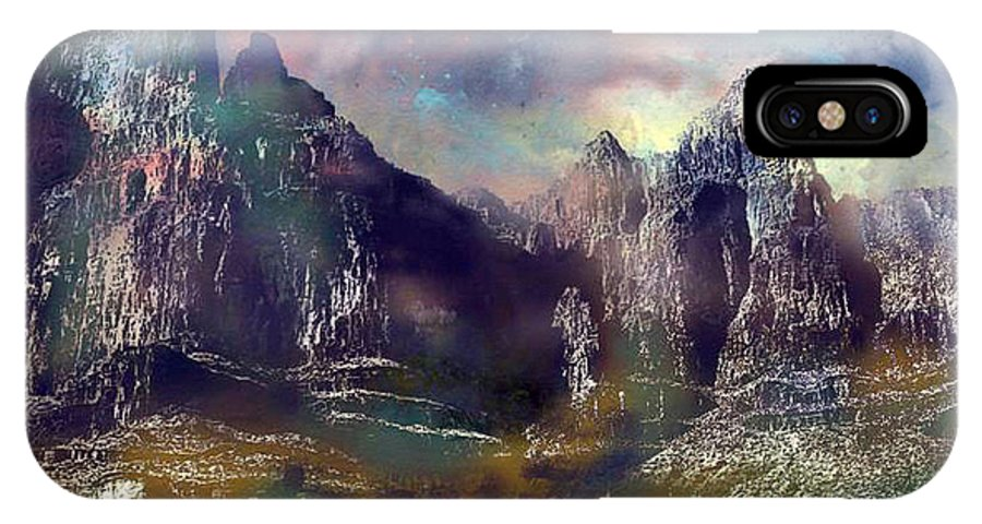Mountains IPhone Case featuring the digital art Ominous Sky by Arline Wagner