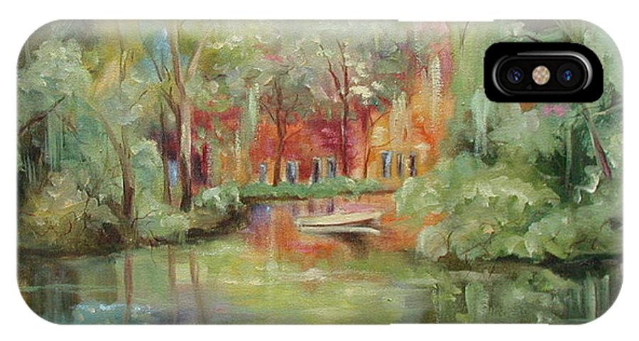 Bayou IPhone X Case featuring the painting On A Bayou by Ginger Concepcion