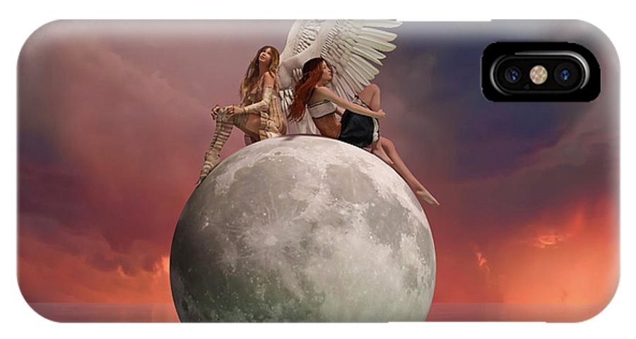 3d IPhone X Case featuring the digital art On A Wing And A Prayer by Betsy Knapp