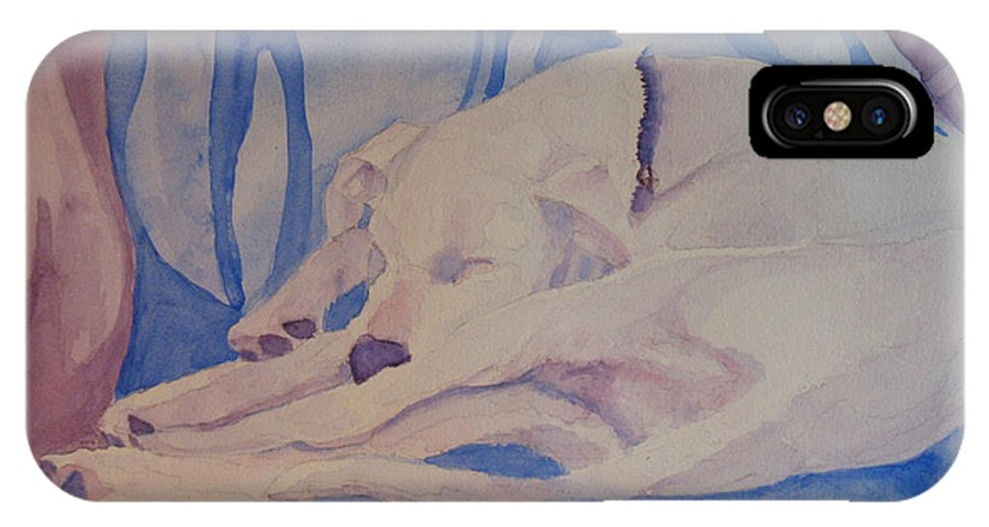 Dog IPhone Case featuring the painting On Fallen Blankets by Jenny Armitage
