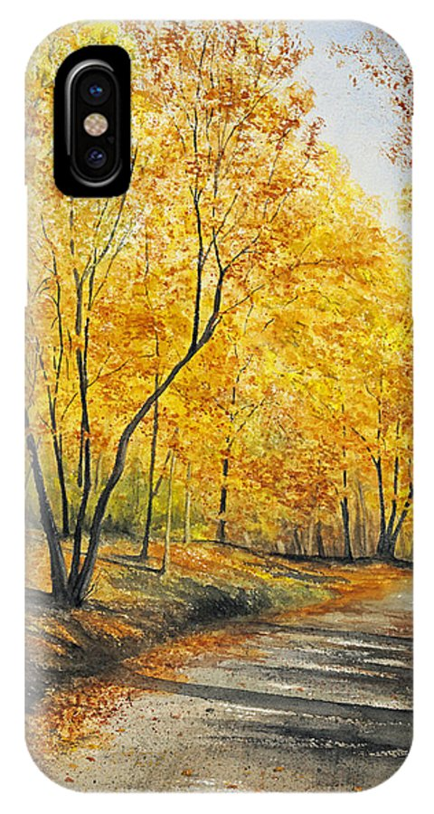 Autumn IPhone Case featuring the painting On Golden Road by Mary Tuomi