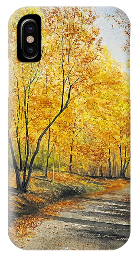 Autumn IPhone X Case featuring the painting On Golden Road by Mary Tuomi