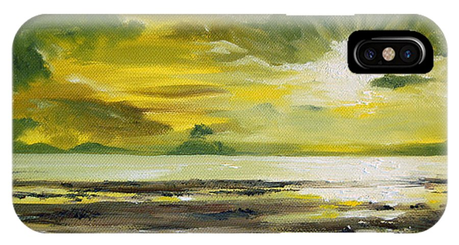 Sunset IPhone X Case featuring the painting On Golden Shores by Mary Tuomi