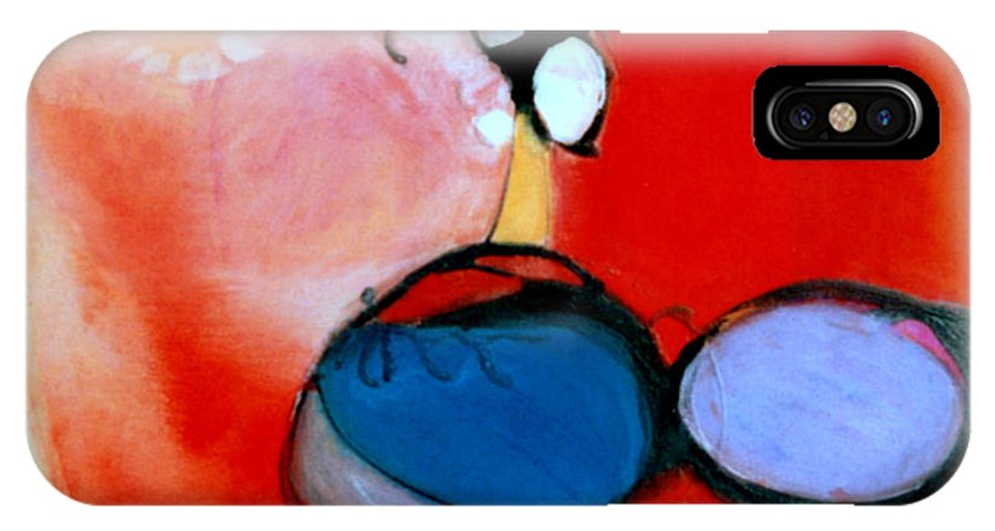 Abstract IPhone Case featuring the painting On The Ball by Marlene Burns