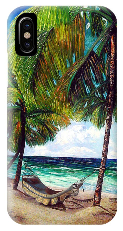 Beach IPhone X Case featuring the painting On The Beach by Jose Manuel Abraham