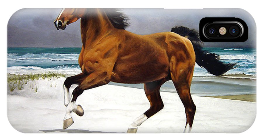 Horse IPhone X Case featuring the painting On The Beach by Marc Stewart