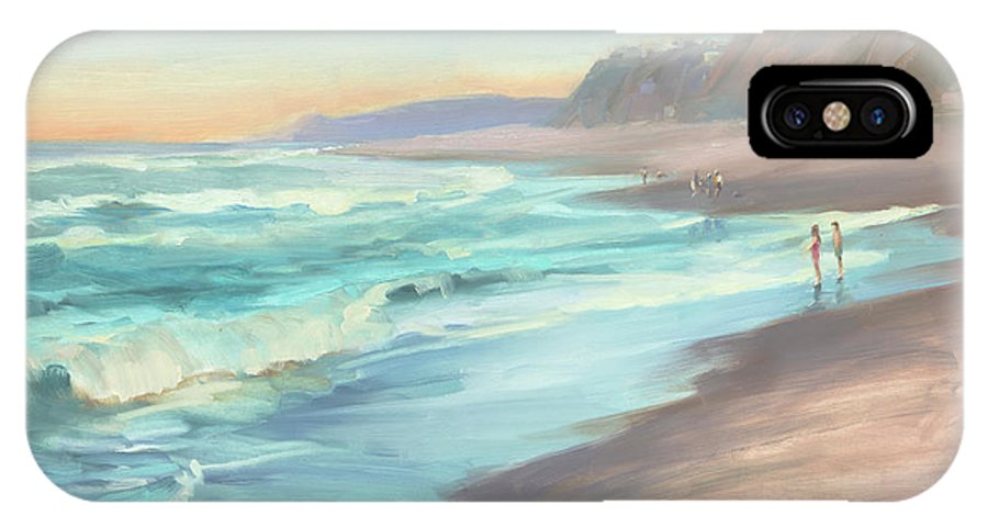 Ocean IPhone X Case featuring the painting On The Beach by Steve Henderson
