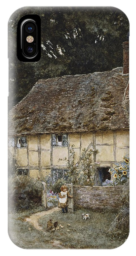 English; Landscape; Cottage; Path; Garden; Half-timbered; Wood;woods; Chickens; Rural; Child;f Eeding; C19th; C20th; Victorian IPhone X Case featuring the painting On The Brook Road Near Witley by Helen Allingham