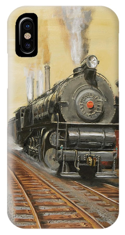 Train IPhone X Case featuring the painting On The Great Steel Road by Christopher Jenkins