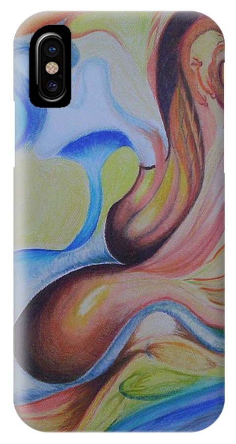 Abstract IPhone X Case featuring the painting On The Island by Suzanne Udell Levinger