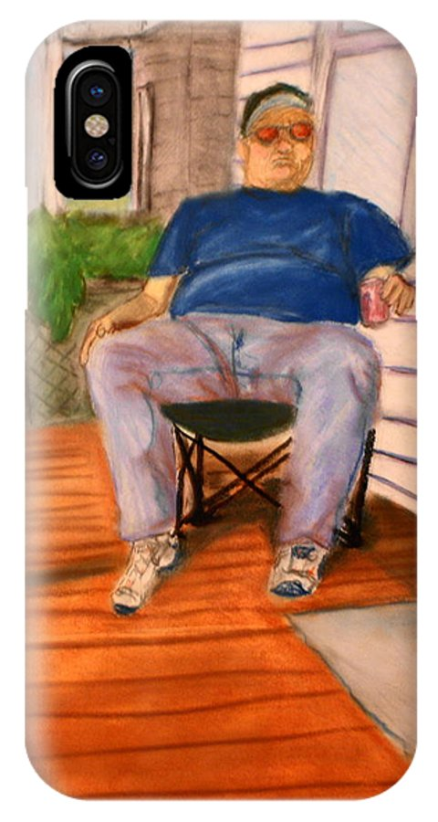 Man IPhone X Case featuring the pastel On The Porch With Uncle Pervy by Jean Haynes