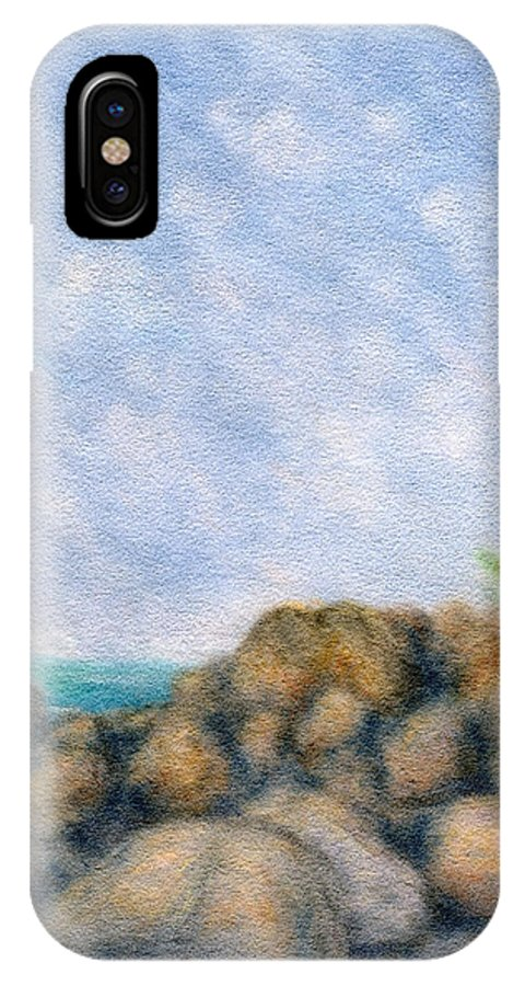 Rainbow Colors Pastel IPhone Case featuring the painting On The Rocks by Kenneth Grzesik