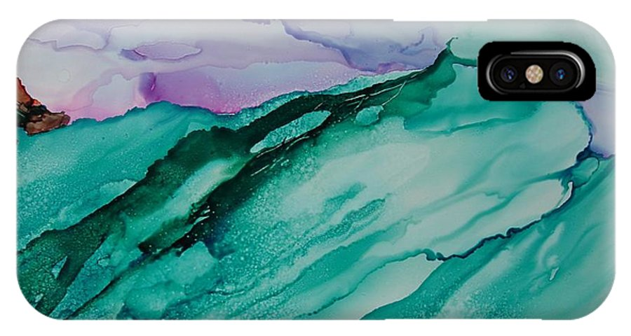 Ocean IPhone X Case featuring the painting On The Rocks by Susan Kubes