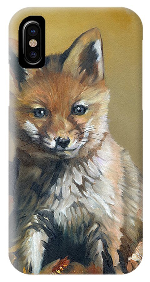 Fox IPhone X Case featuring the painting Once Upon A Time by J W Baker