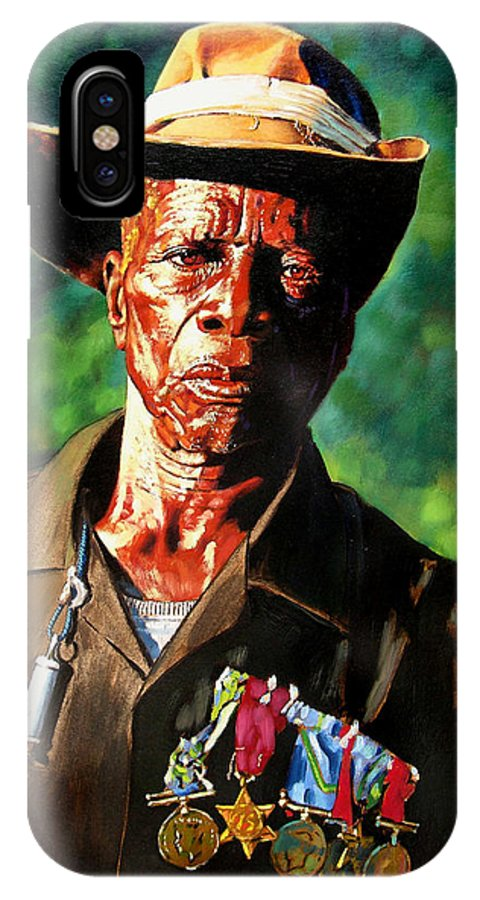 Black Soldier IPhone X Case featuring the painting One Armed Soldier by John Lautermilch