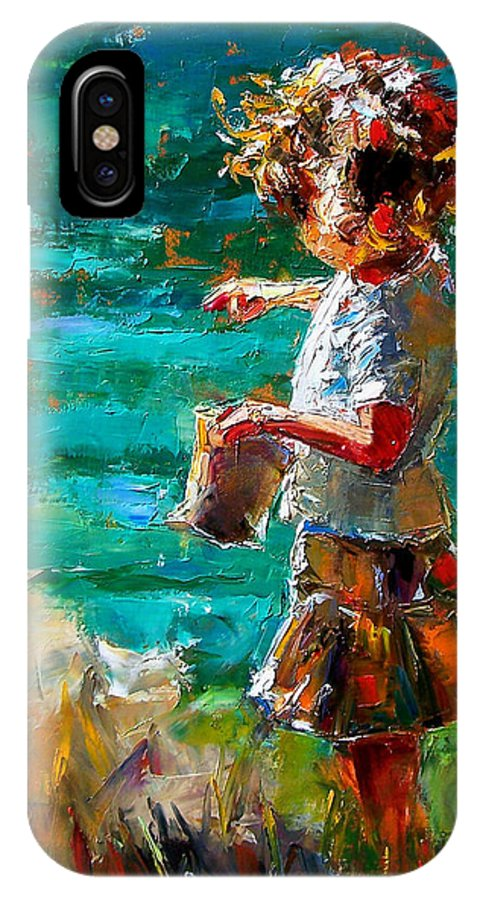 Children IPhone X Case featuring the painting One At A Time by Debra Hurd