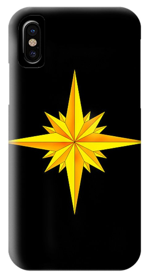 Compass IPhone X Case featuring the painting One Brite and Shining Star by Anne Norskog