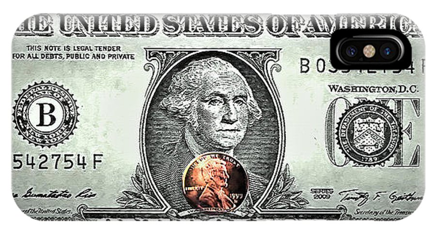 Dollar IPhone X Case featuring the mixed media One Dollar - Not What It Used To Be by Steve Ohlsen