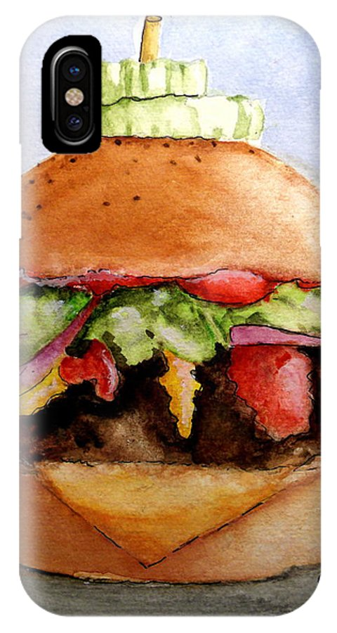 Hamburger IPhone X Case featuring the painting One Hearty Meal by Carol Grimes