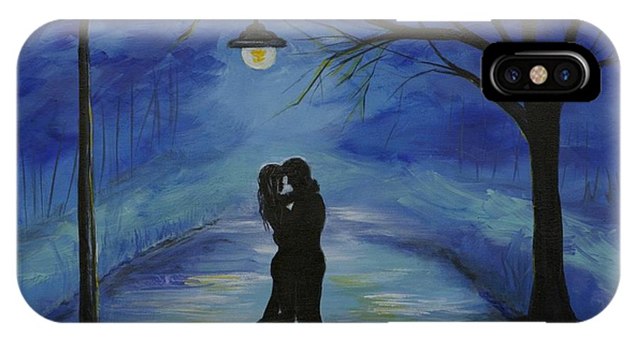 Couple IPhone X Case featuring the painting One Love One Lifetime by Leslie Allen