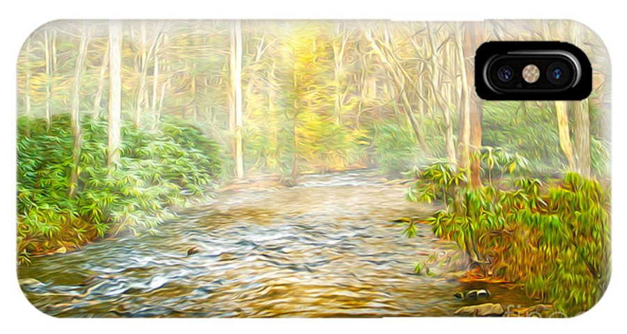 Stream In Woods IPhone X / XS Case featuring the photograph One Misty Morning by Laura D Young