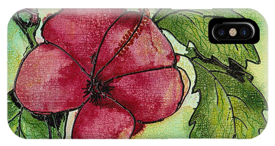Flower IPhone Case featuring the painting One Pink Hibiscus by Susan Kubes