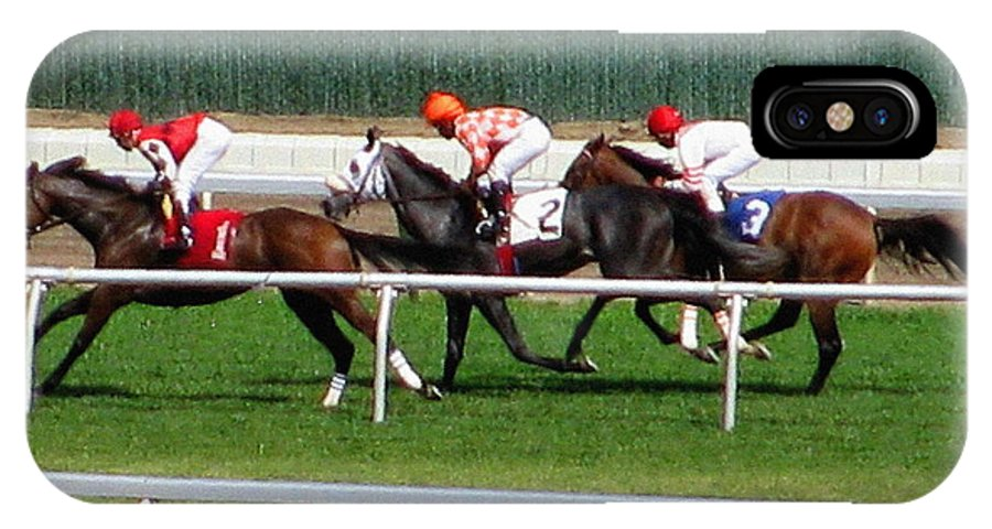 Horse Racing IPhone X / XS Case featuring the photograph One Two Three by Colleen Kammerer