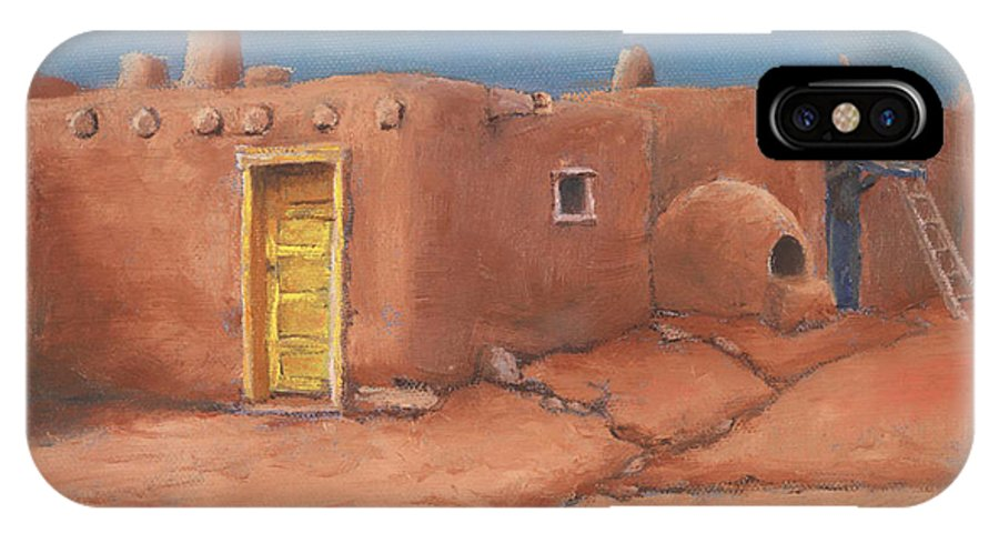 Taos IPhone X Case featuring the painting One Yellow Door by Jerry McElroy