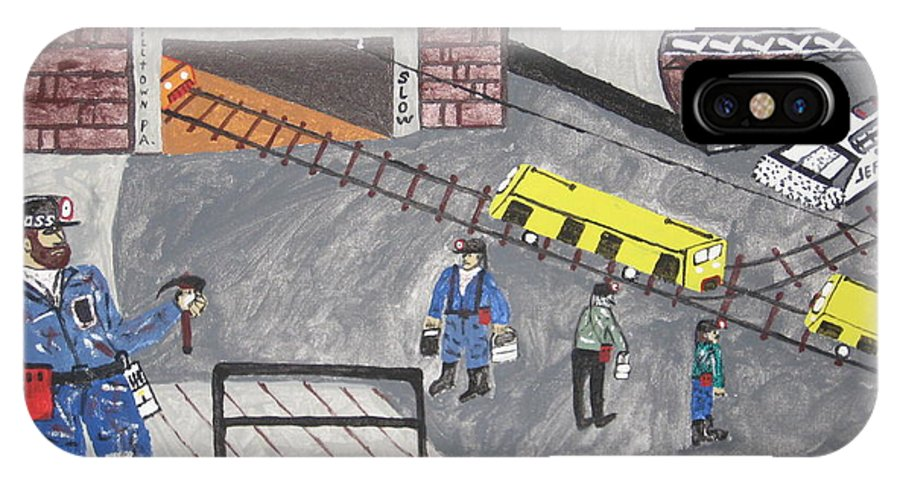 Worker IPhone X Case featuring the painting Onieda Coal Mine by Jeffrey Koss