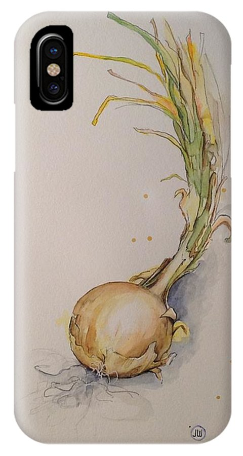 Onion IPhone X Case featuring the painting Onion by Julie Wedean