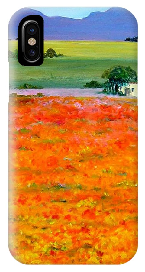 Landscape IPhone X Case featuring the painting Oopsa Daisy by Liz McQueen