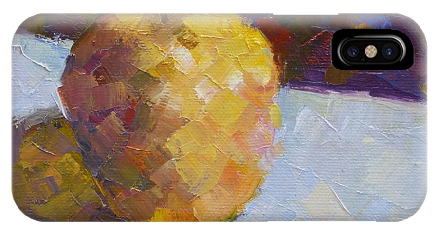 Opal Apple IPhone X Case featuring the painting Opal In Gold by Susan Woodward
