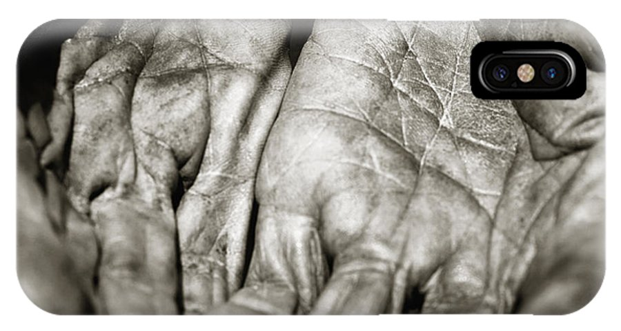 Hands IPhone X Case featuring the photograph Two Old Hands by Skip Nall