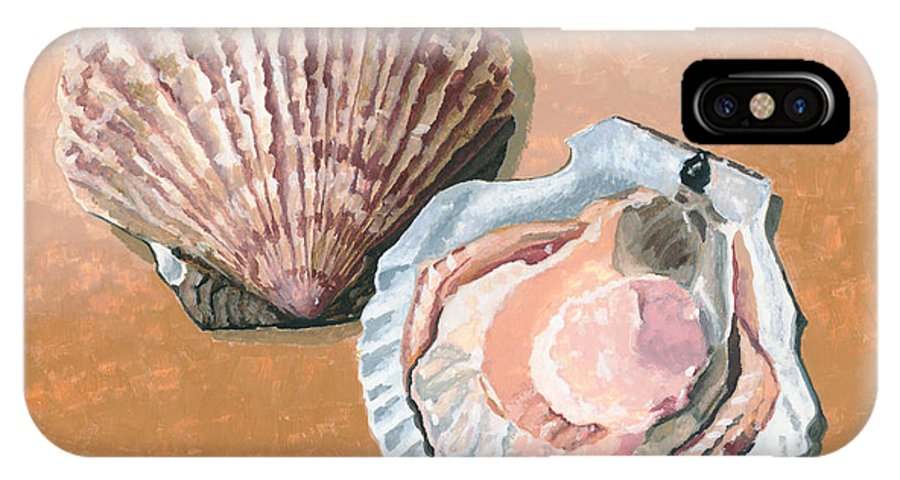 Scallop IPhone X Case featuring the painting Open Scallop by Dominic White